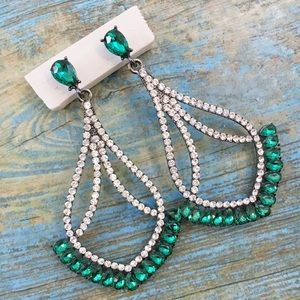 Large Emerald Green Crystal Event Earrings
